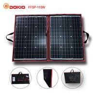 Dokio 90 Вт 100 Вт 110 Вт (55 Вт x 2 шт.) 18 В гибкие черные солнечные панели Китай складной + 12/24 В регулятор напряжения 110 Вт солнечных панелей