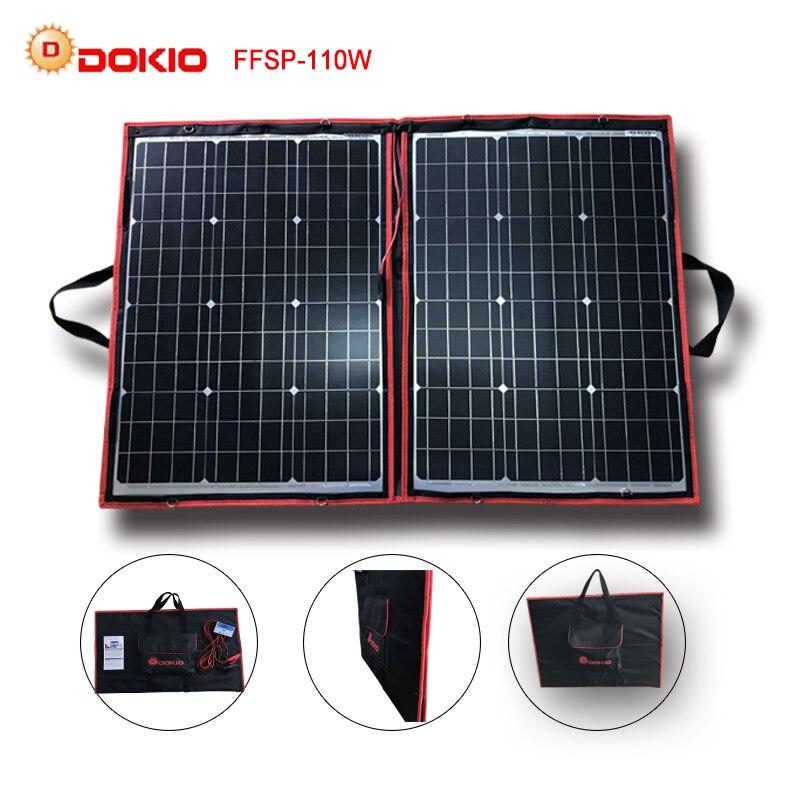 Dokio 90 w 100 w 110 w (55 w x 2 pz) 18 v Flessibile Nero Pannelli Solari Cina Pieghevole + 12/24 v Volt 110 Watt Pannelli Solari