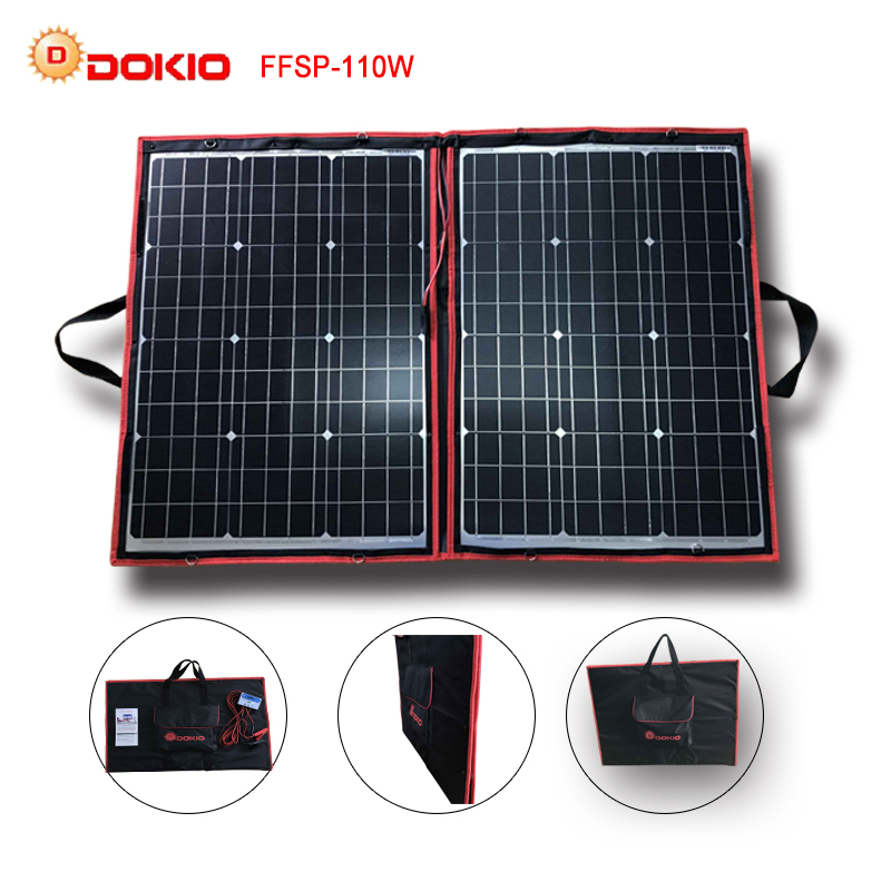 Dokio 90W 100W 110W 55Wx2Pcs 18V Flexible Black Solar Panels China Foldable 12 24V Volt Controller