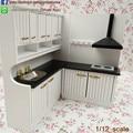 Nueva Llegada de Miniaturas de Cocina Set/2 Escala 1:12 Dollhouse Muebles De Madera Gabinete Del Fregadero y Campana Extractora