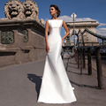 High Neck Sleeveless Matte Satin Sheath Wedding Dress with Detachable Skirt Train Two Pieces Bridal Dress vestidos noivas
