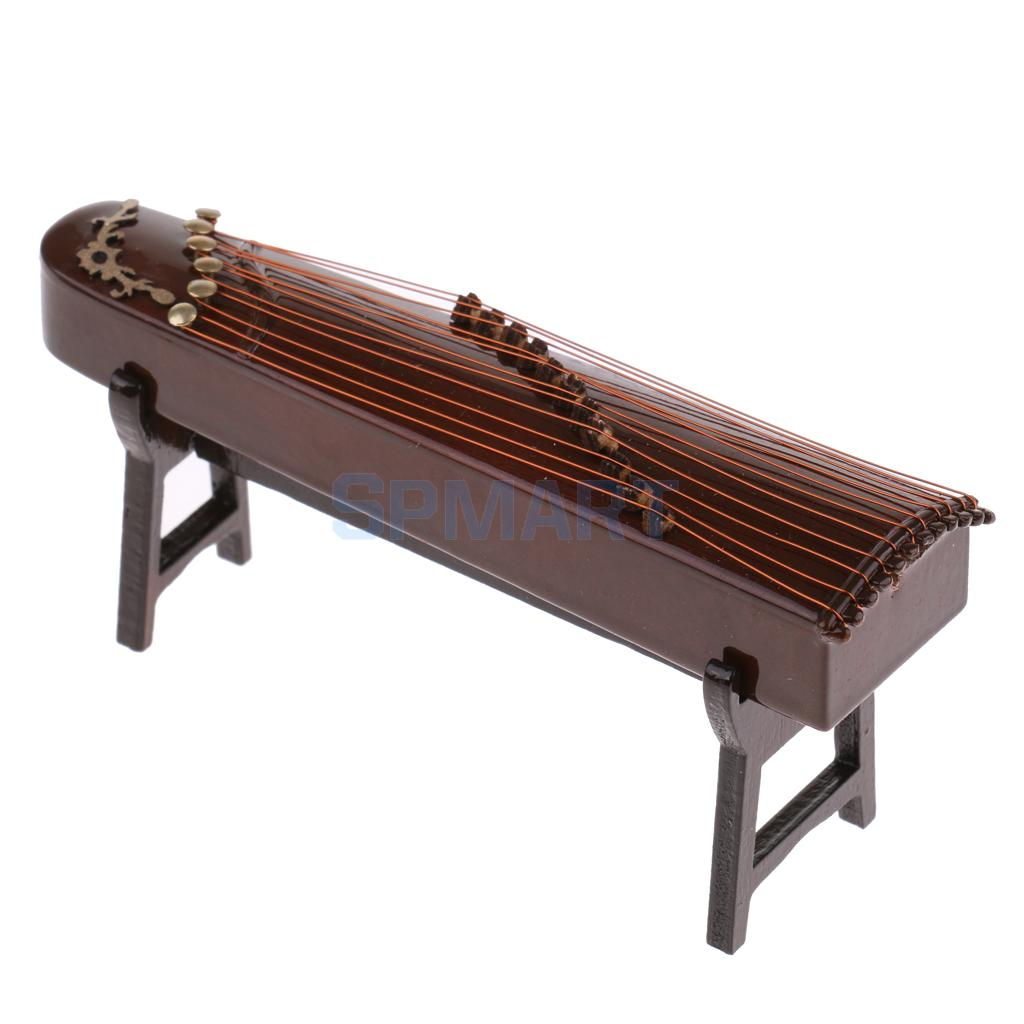 1/12 Scale Dollhouse Miniature Vintage Musical Instrument Guzheng Chinese Zither Plucked Instrument