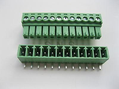 30 pcs Screw Terminal Block Connector 3.5mm Angle 12 pin Green Pluggable Type 12 pin screw terminal block connector w cover black