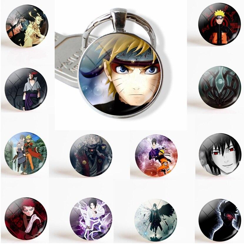 Anime Naruto Shippuden Fashion Keychain Pendant Glass Dome Cabochon Uzumaki Naruto Uchiha Sasuke Jewelry Key Chain Ring Gift