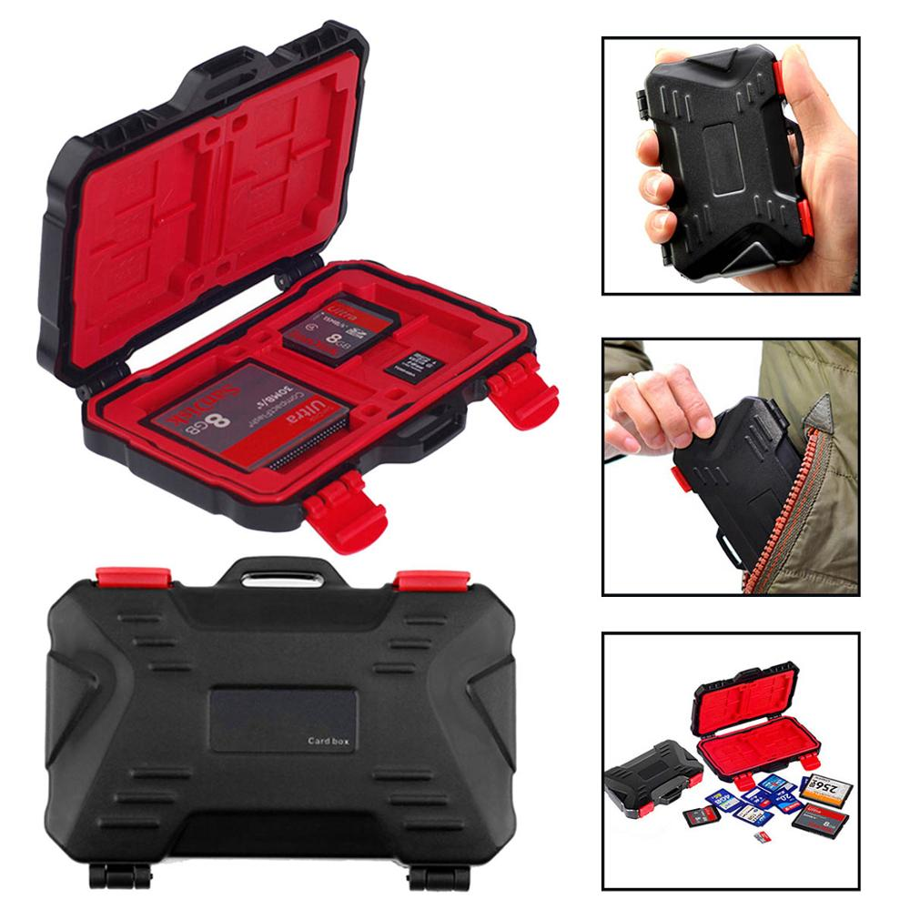 SD Card Box Memory Card Case Holder For 4pcs CF Card SDXC MSPD XD 12 TF T-Flash Storage Box Protector Case Waterproof Anti-shock