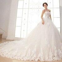 2019 New Lace Cathedral Train Sleeveless Bow wedding dress Custom design size Appliques Flower Vestido De Novia Bride Dress