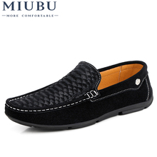 MIUBU Moccasin Homme Loafers Men Slip On Shoes Casual Flat Shoes Brand Suede Shoe Slipony Flats Moccasins Men Driving Shoes eofk brand autumn women loafers moccasin homme casual suede leather shoes moccasins slip on woman shoes mocasines