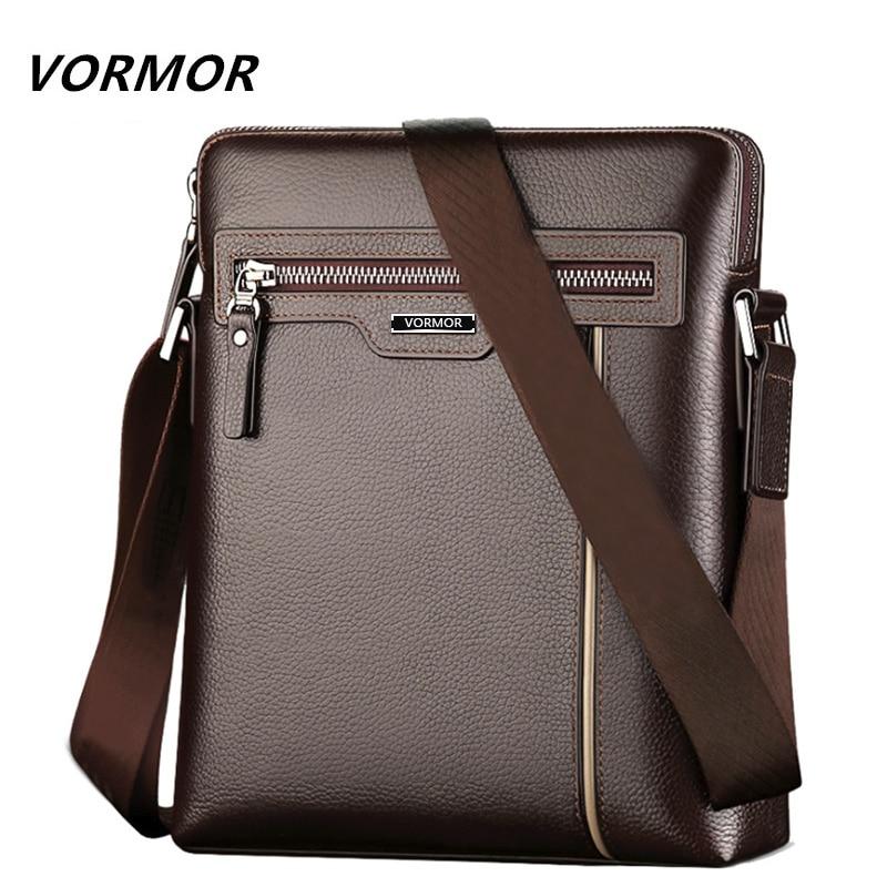 VORMOR Famous Brand Leather Men Bag Casual Business Leather Mens Messenger Bag Fashion Men's Crossbody Bag Bolsas Male