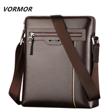 VORMOR Famous Brand Leather Men Bag Casual Business Leather Mens Messenger Bag Fashion Mens Crossbody Bag bolsas male