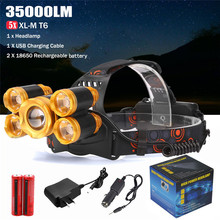 New 5x XM-L T6 LED Rechargeable 18650 USB Headlamp Head Light Zoomable Outdoor Sports Bike Bicycle Cycling Accessories May 12