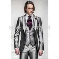 Korea Satin Bright Silver With Black Brim Man Groom Tuxedos/men Wedding Suits/ Prom/Formal Suit (Jacket+Pants/custom men dress