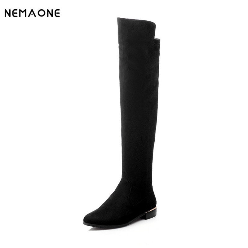 NEMAONE 2016 Women's Fashion Knee high Boots flat long Winter Boots for Women Autumn Boots Shoes Size 34-42 2016 autumn