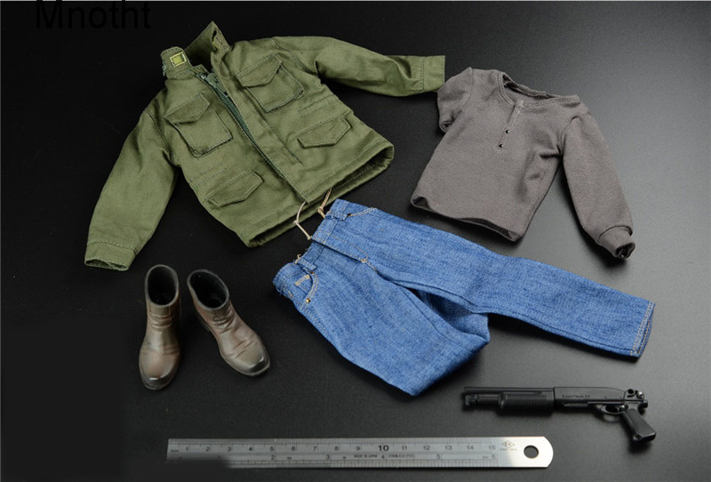 Mnotht 1/6 Male Solider Terminator Arnold Trench jeans windbreak Suit Clothes With Boots And 1/6 Scale Gun Model l30 A008