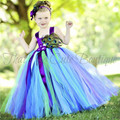 Girls Feather Peacock Dress Long Fluffy Flower Girl Tulle Tutu Dress Kids Party Pageant Wedding Birthday Dresses Costumes 1-14Y