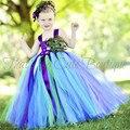 Niñas Pluma de Pavo Real Vestido Largo Mullido Muchacha de Flor de Tulle Tutu Dress Kids Party Vestidos Del Desfile de Cumpleaños de La Boda Trajes 1-14Y