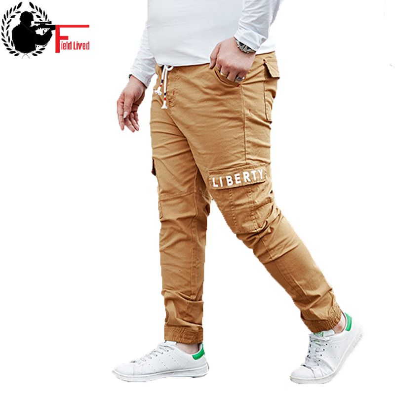 Cargo-Pants Jogger Leisure-Trouser Elastic-Waist Loose Khaki Blue Male Baggy Big-Size
