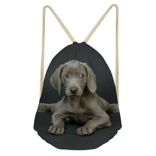 ThiKin Funny Dog Little Weimaraner Printing Boys Girls School Bags Primary School Students Drawstring Bag Kids Backpacks
