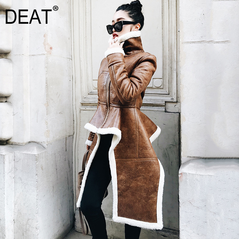 DEAT 2020 New Fashion Zipper Irregular PU Cotton Clothing Trendy Winter Hot Sale Long Section Personality Clothes Coat BE285