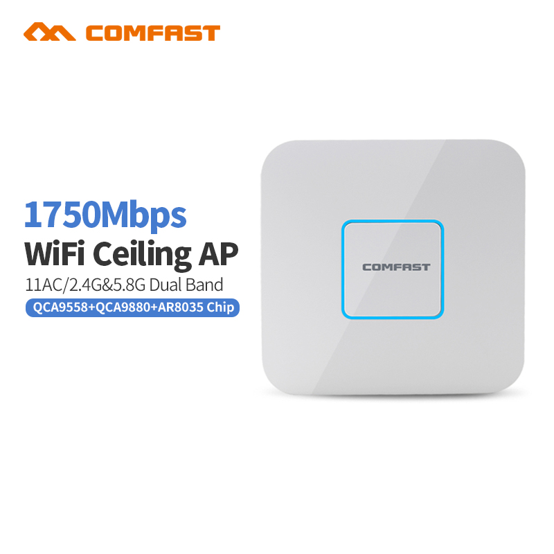 Comfast CF-E380AC 1750MWiFi Access point Dual Band 2.4+5GHz 11AC gigabit Router Wireless wifi Repeater 48v poe openwrt indoor AP comfast full gigabit core gateway ac gateway controller mt7621 wifi project manager with 4 1000mbps wan lan port 880mhz cf ac200