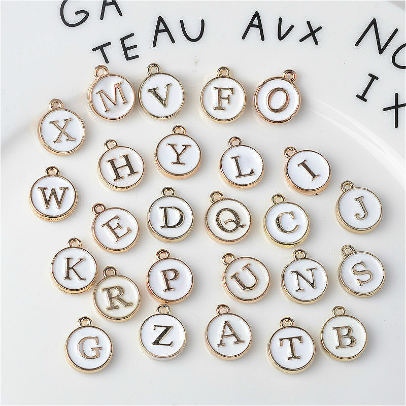 10pcs/26pcs  Alphabet Letter Double Face Enamel Charms  Gold color 41*24mm pendants jewelry making Handmade craft 5