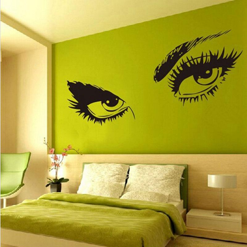 New Sexy Beautiful Female Eye Big Eye Lashes Decor Wall Mural Vinyl ...