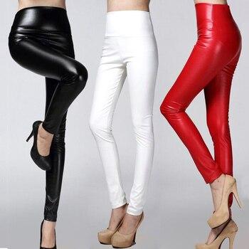 Kvinnor legger mager PU läder penna Leggings smal faux Läderbyxor kvinnliga modiga tjocka fleece byxor