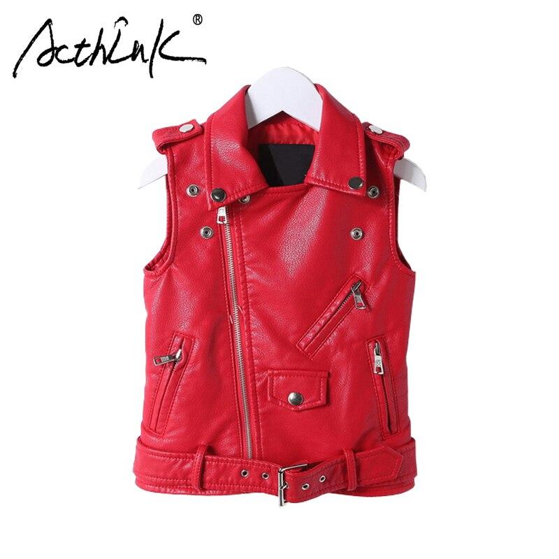 ActhInK New Girls Faux Leather Vest Coat Boys Slide Zipper Motorcycle Jacket Kids Spring PU Leather Waistcoat Girls Red PU Vest zipper design pu leather jacket