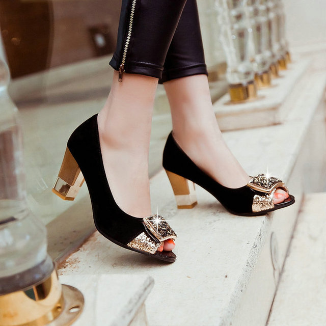New Fashion women sandals shoes solid sandals high heels open toe shoes for women in women's pumps black ladies plus size 43