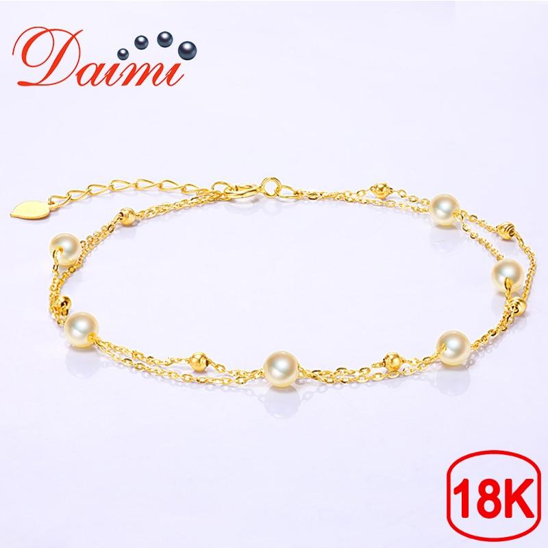 DAIMI Exquisite Light Luxury Double Bracelet Prefectly Round 4 4 5mm Akoya Pearl 18K Gold Female