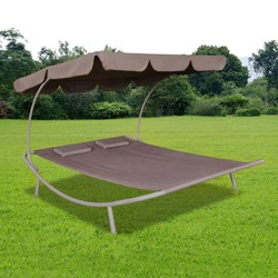 VidaXL Braun Lange Garten Stuhl Mit Baldachin Und Kissen Hohe Qualität Oxford Material Geeignet Für Garten Terrasse Strand