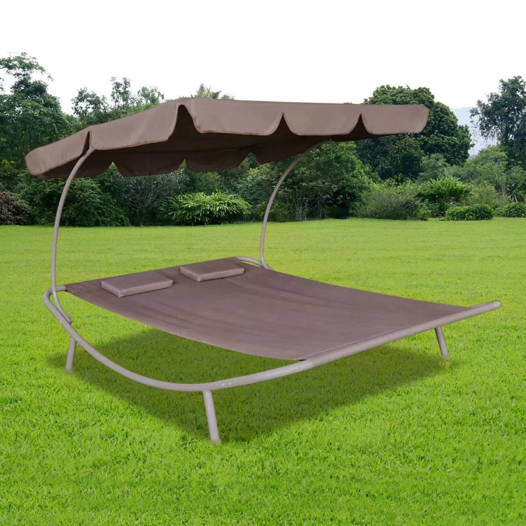 VidaXL Brown Long Garden Chair With Canopy And Pillows High Quality Oxford Material Suitable For Garden Patio BeachVidaXL Brown Long Garden Chair With Canopy And Pillows High Quality Oxford Material Suitable For Garden Patio Beach