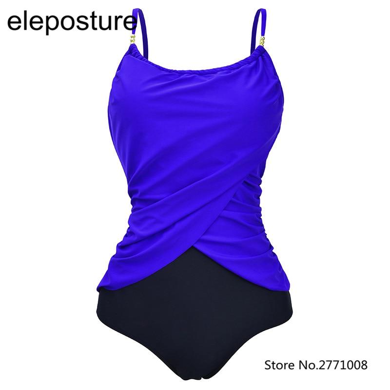 Contrast Color One Piece Swimsuit Plus Size Swimwear Women 2017 High Waist Vintage Bathing Suit Beachwear Backless Swim Wear 5XL plus size scalloped backless one piece swimsuit