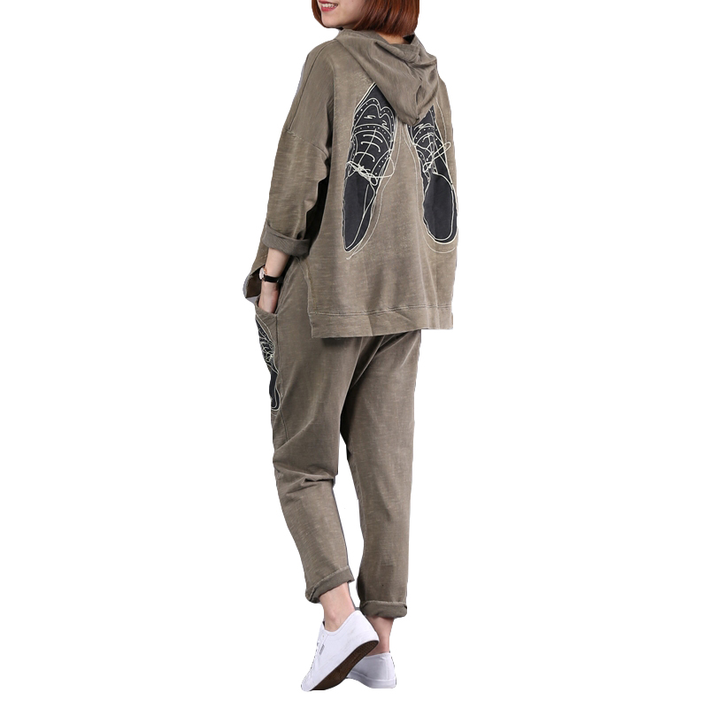 Sent Within 48 Hours Women Loose Big Size Sets Spring Summer Long Sleeve+Elastic Waist Harlan Pants 2Piece Ladies Print Sets