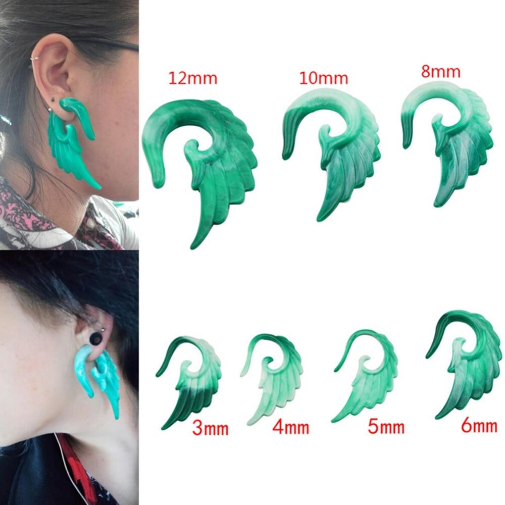 1 Pair Carved Resin Angels Wing Spiral Hook Ear Expander Stretch Plug Earrings Punk
