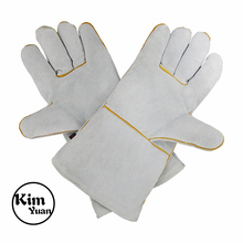KIM YUAN 054L Leather Welding Gloves - Heat/Fire Resistant, Perfect for Welder/Oven/Fireplace/Animal Handling/BBQ -Red- 14inches
