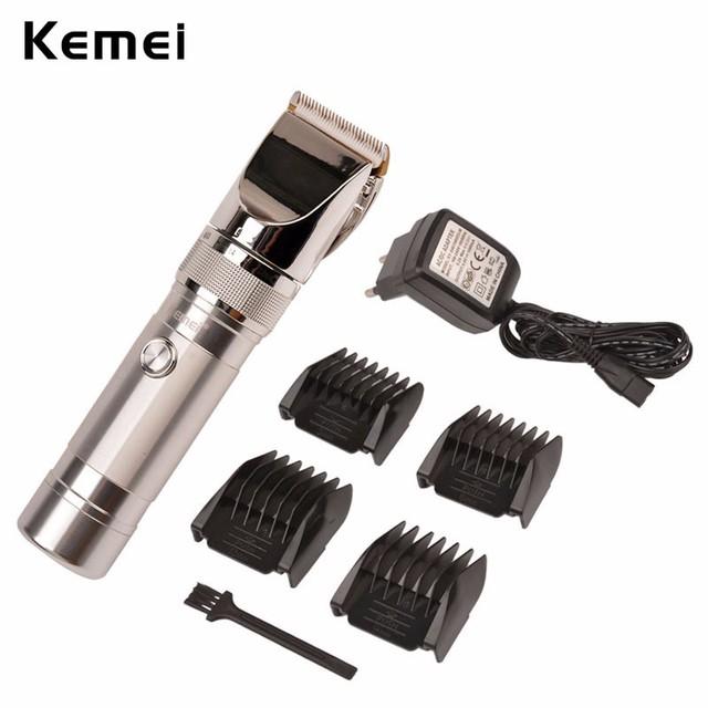 Envío libre 100-240 v salón kemei clipper cortador eléctrico top calidad profesional de aleación de aluminio de acero inoxidable de los hombres corte de pelo