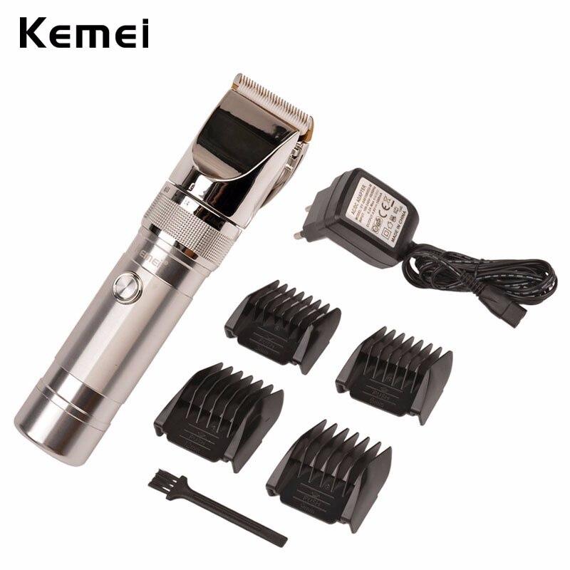Kemei 100-240V Salon Professional Ceramic Blade Clipper Electric Cutter Aluminum Alloy Men's Stainless Steel Haircut Machine Kit