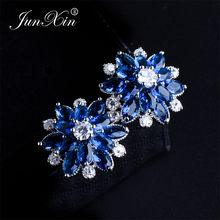 JUNXIN Female Snowflake Stud Earring Real 925 Sterling Silver Jewelry 2018 High Quality AAA Zircon Double Earrings For Women(China)