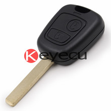 Keyecu 10PCS/LOT New Remote Key Case Key shell 2 Button for Peugeot 307 107 207 407 Keyless Entry Remote Fob VA2 Blade With logo