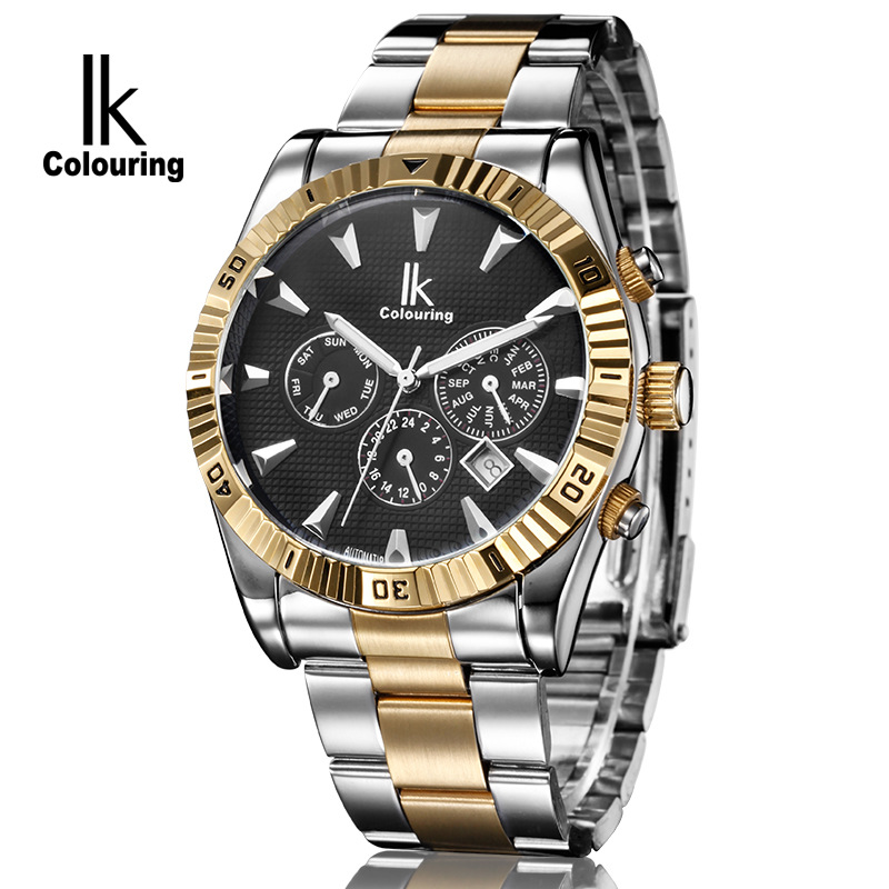 Luxury IK Top Brand Man Watches Automatic Men's 24Hours/Week/Day Mechanical Wristwatch Gift Orignial Box Free Ship ik coloring famous mens watches brand luxury hardlex day week month auto mechanical waterproof wristwatch oringal box free ship