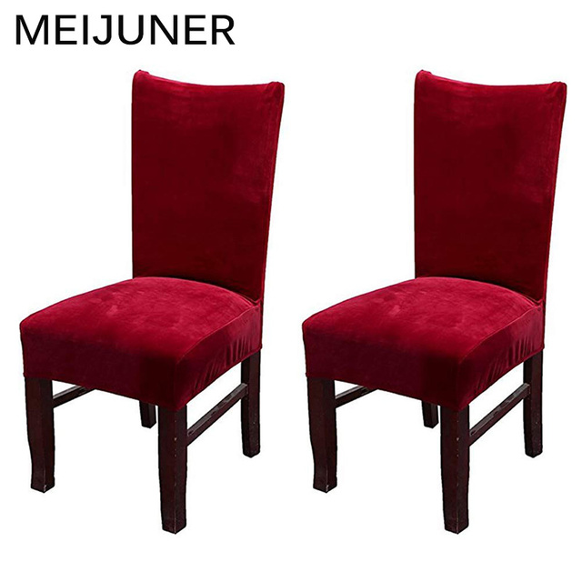 chair covers for dining room leather accessories meijuner velvet spandex fabric stretch slipcovers home decor seat mj083