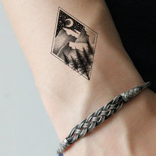 Diamond Hill Temporary Tattoo Women Body Arm Hands Tattoo Stickers Small Geometric Valley Waterproof Tatoos Men Ankle Art Decals(China)