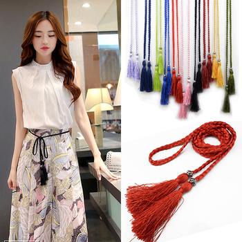 Waist chain 1PC Braided Belt Woven Tassles Belts Waistband Hot Sale waist rope Ladies Tassel 160cm Women decorated
