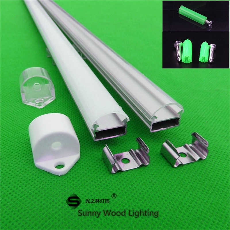 10x1m   Aluminum Profile For Led Strip,rigid Bar With Milky/transparent Cover For 12mm 5630 Pcb With Fittings ,LED Hard Strip
