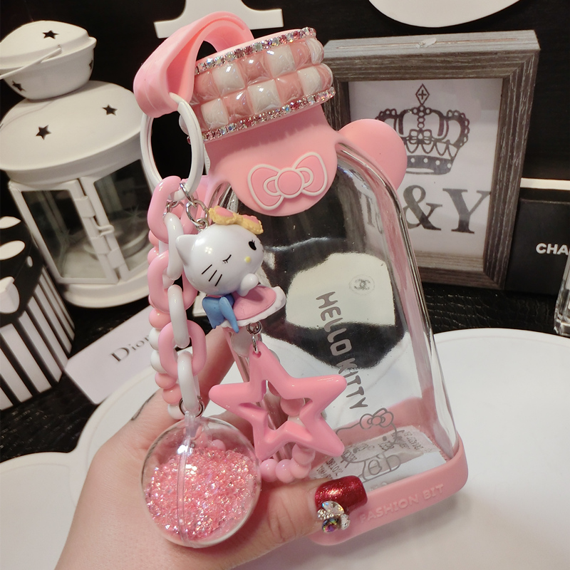 350ml Cartoon Crystal Hello Kitty Diamond Water Bottle Kids Anti-wrestling Square Water Bottle Glass Jingle Cat Flat Water Cup image