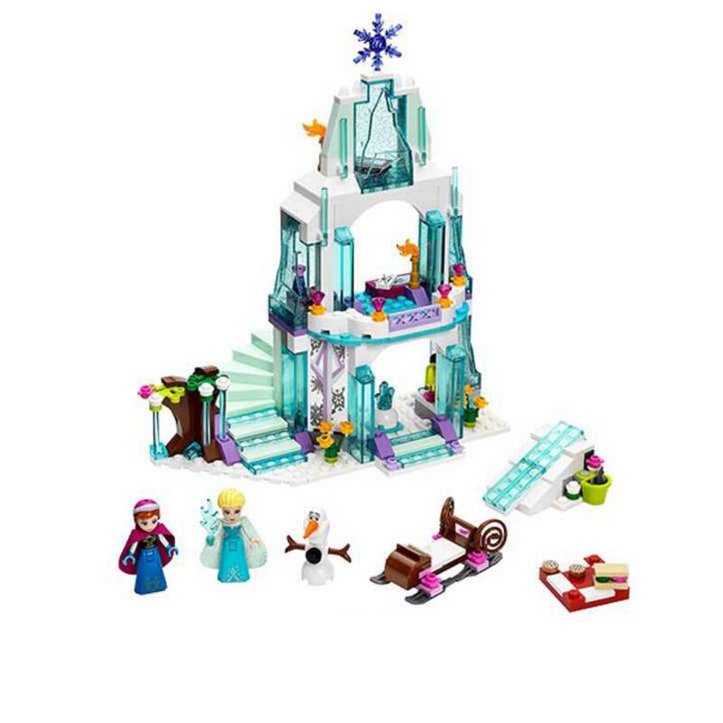316 Pcs Snow Queen Anna Elsa Ice Castle Building Blocks Princess Anna Set Model Bricks Gifts Toys Compatible with Legoe Friends 8 pcs set queen princess cinderella elsa anna little mermaid snow white alice princess pvc figures toys children gifts