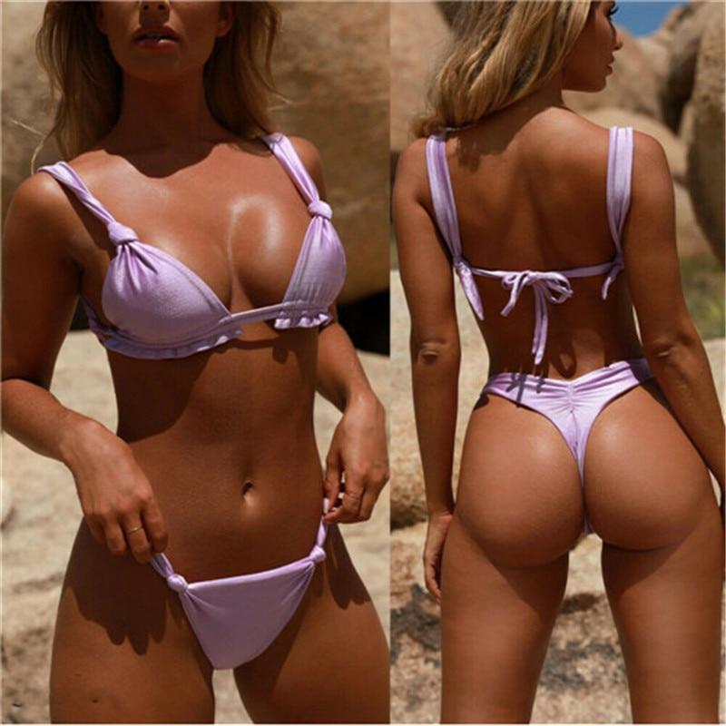 Swimwear Women 2019 Women Sexy Brazilian Bikini Top Thong Bottom Set Beach Push-up Swimwear Swimsuit Swimwear Women Summer New