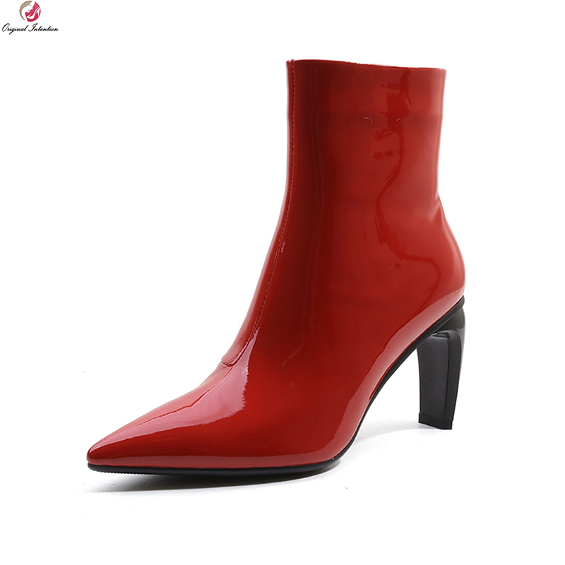 Original Intention Super Fashion Women Ankle Boots Leather Pointed Toe Thick Heels Boots Black Red Shoes Woman Plus US Size 4-10Original Intention Super Fashion Women Ankle Boots Leather Pointed Toe Thick Heels Boots Black Red Shoes Woman Plus US Size 4-10
