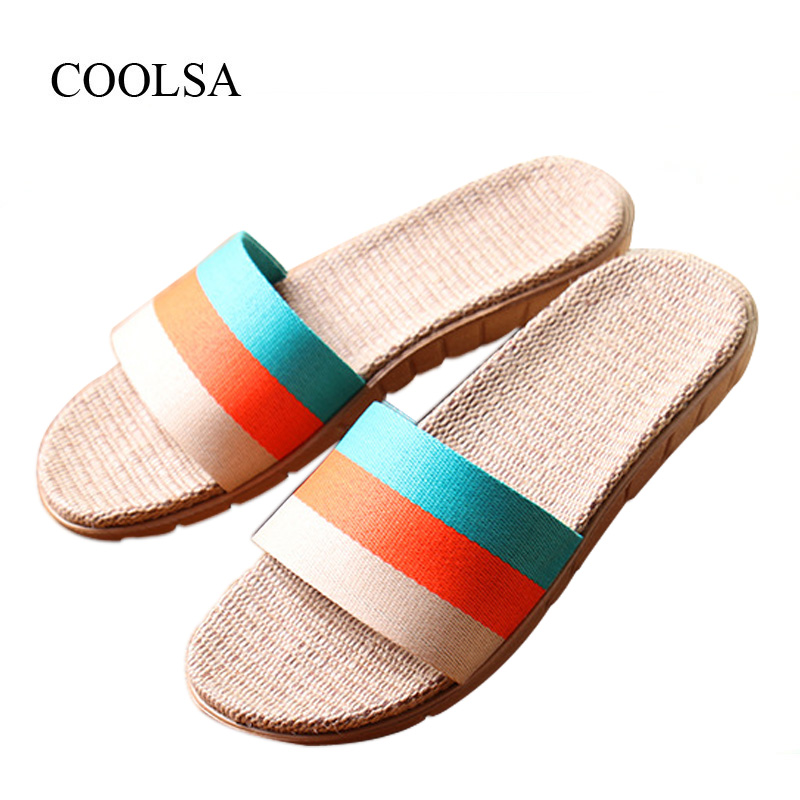 COOLSA WOmen's Summer Flat Non-slip Linen Slippers Indoor Breathable Flip Flops Women's Brand Stripe Flax Slippers Women Slides coolsa women s summer striped linen slippers breathable indoor non slip flax slippers women s slippers beach flip flops slides