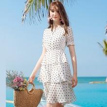 AcFirst Summer White Women Long Dresses Holiday Sexy Sundress Chiffon Dots Sweet Beach Style Lanon